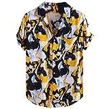 Xmiral Camicia Maniche Corte Camicie Casual da Uomo Stampate a Manica Corta da Uomo Summer Tops (14- Giallo, 3XL)