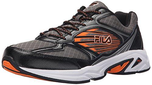 Fila Inspell 3 Tenis para Correr para Hombre, Plateado (Plateado Oscuro/Negro/Naranja (Dark Silver/Black/Vibrant Orange)), 41 EU