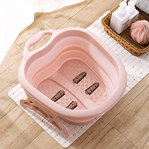 EASYBUY Fußeinweichung Badewanne Waschbecken Werkzeuge, Schaum-Massageeimer, Erhöhung Kunststoff Gummi Tragbarer Fuß Bad Barrel für Haushalt Zubehör (Pink), rose, 40x50x22cm