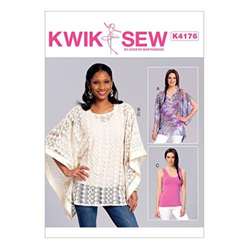 Kwik Sew Mustern Schnittmuster Poncho und Top, Tissue, Mehrfarbig, Größen XS–X-Large