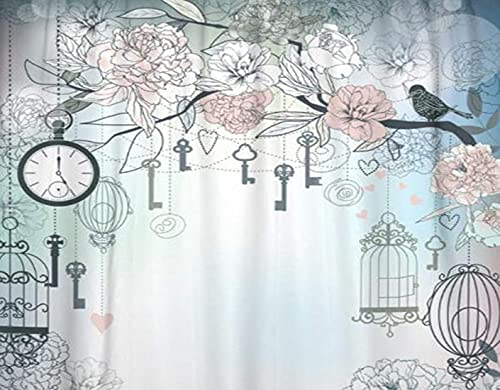 HATESAH 5D Diamond Painting Kits for Adults DIY Pink Vintage Floral Birds Cages Clock Keys Peonies Love Tree Paint with Diamonds Relaxation and Home Wall Decor 12x16inch