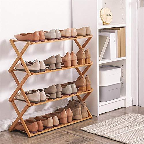 Zapato plegable 2/3/4/5/6 capas de bamb¨² gabinetes de zapatos estante hogar O soporte de almacenamiento de zapatos dormitorio puerta-Buff