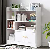 US Fast Shipment Multi-Layer Floor Bookshelf,Home Office Standing Book Cabinet with Door Locker & 5 Open Compartment,Stable Practical Student Adult Bookcase for Study Room Living Room