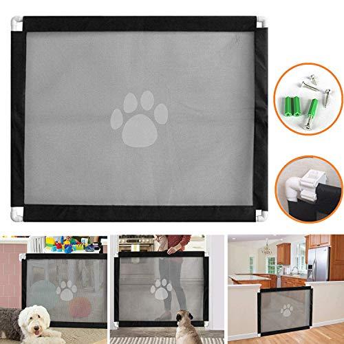 bangminda Hunde Türschutzgitter, Abschließbar Hundeschutzgitter Treppenschutzgitter Absperrgitter für Babys und Haustiere, 80cm x 100cm, 2 Installationsmethoden