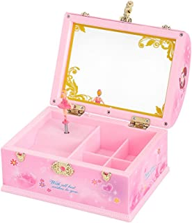 BREIS Music Boxes for Girls, Musical Jewelry Storage Box with Spinning Ballerina Musical Jewelry Box for Girls, Cute Child Jewelry Box for Gift for Kids