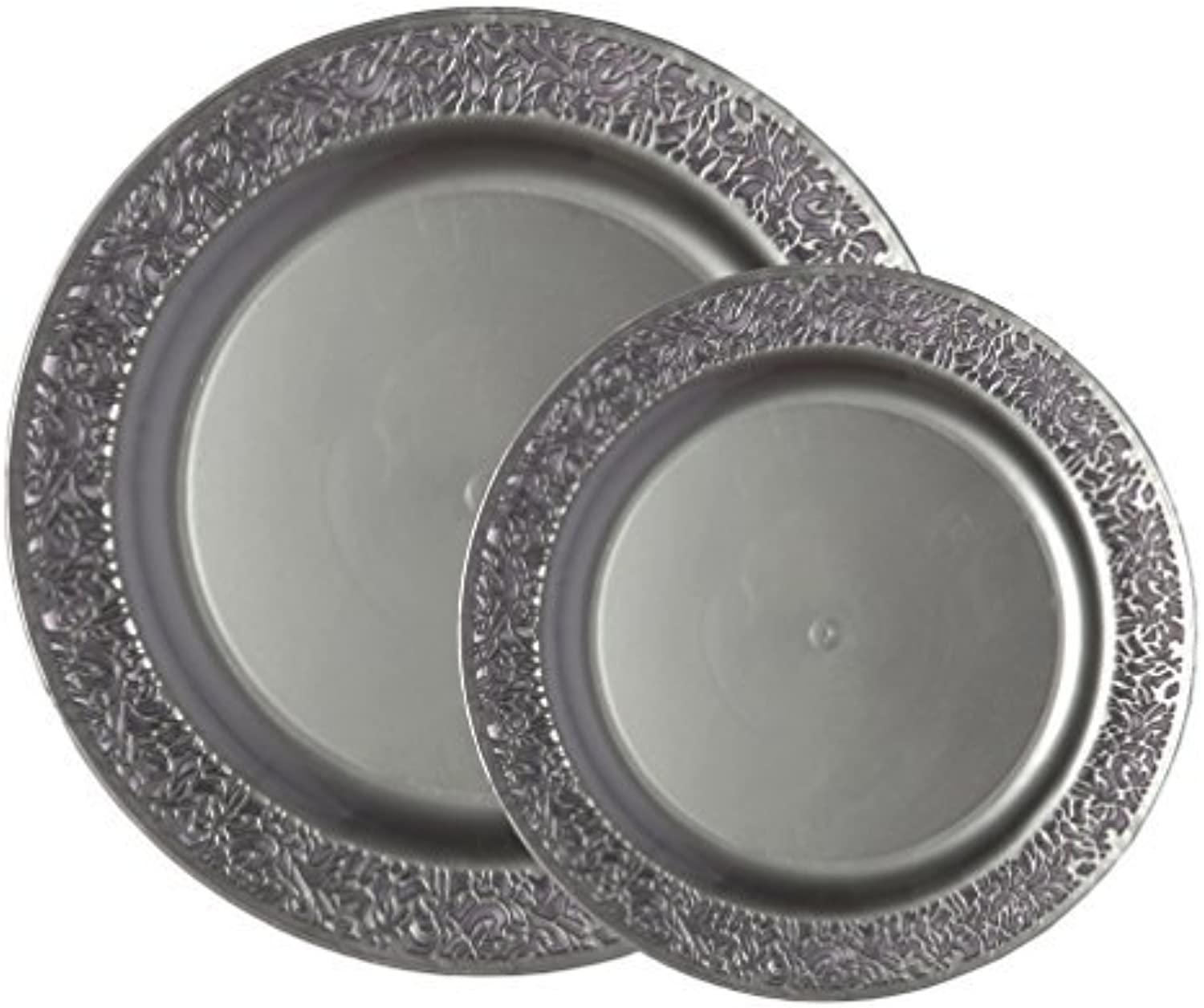 Party Joy 200-Piece Plastic Dinnerware Set   Lace Collection   (100) Dinner Plates & (100) Salad Plates   Heavy Duty Premium Plastic Plates for Wedding, Parties, Camping & More (Grey)