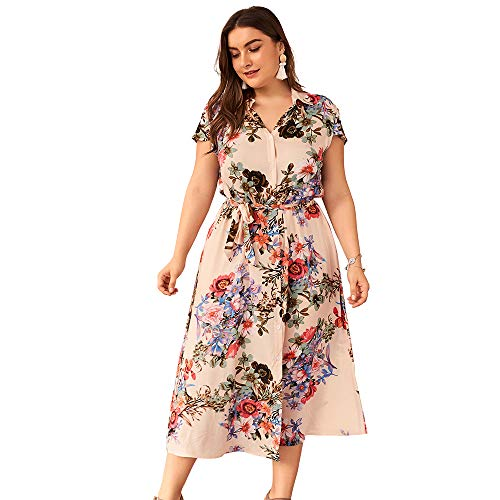 NA KTYRONE 4XL Plus Size Kleid Damen Damenmode Blumendruck V-Ausschnitt Lässig Kurzarm Chiffon Sommerkleid,Apricot,XXL