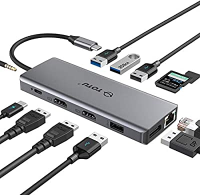 USB C HUB, Upgraded TOTU 13 in 1 Type C Hub Dongle Adapter (4K Dual HDMI&DP,75W PD), Triple Display Docking Station for Windows&Macbook Pro USB C Systems, macOS only Support Mirror Display