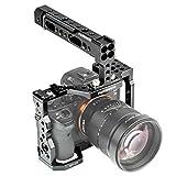 FANSHANG Jaula de Aluminio para cámara de vídeo, estabilizador de Aparejos + Agarre Superior para Sony A7RIII A7III A7II A7RII A7SII A7 A7R A7S A9 DSLR