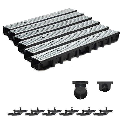 6m Entwässerungsrinne Terrassenrinne Stahlrost verzinkt komplett SET, System A15 98mm