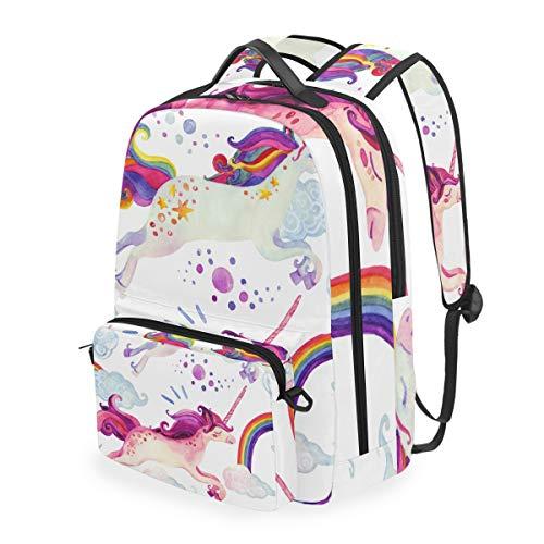 Rucksack Multifunktion Daypack Bookbag Umhängetasche Schule Cartoon World Wunderschönes Einhorn Running Casual
