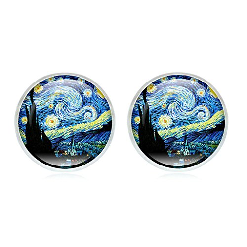 XIAN Van Gogh Painting Stud Earrings The Starry Night Glass Dome Post Fashion Jewelry
