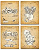 Original Harley Davidson Patent Art Prints - Set of Four Photos (8x10) Unframed - Makes a Great Gift Under $25 for Hog Riders