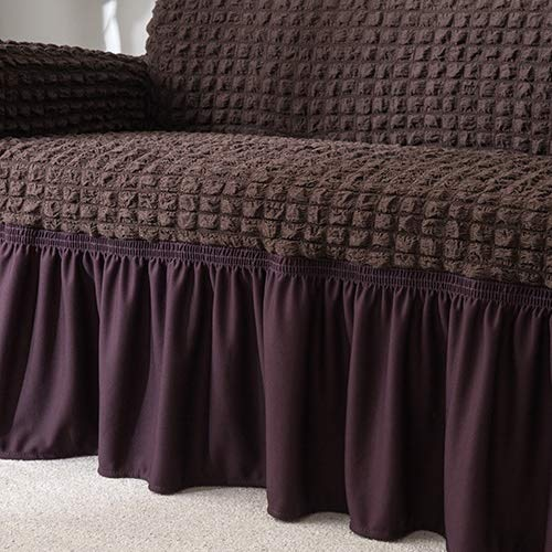 WBFN Slipcover, New Elastic-Sofa-Abdeckung Plaid Husse Universal-Möbel-Abdeckungen mit elegantem Rock for Wohnzimmer Sessel Couch Sofa (Color : Brown, Specification : 2 Seater Sofa Cover)