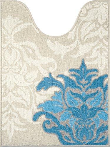 センコー デコールミュゼ サミーラ ロング トイレマット ブルー×グレー 約80×60cm 抗菌 防臭 日本製 31929