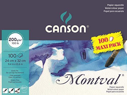 CANSON Montval® Aquarellblock an der langen Seite geleimt, 24 x 32 cm, 100 Blatt, 200 g/m², Feinkorn