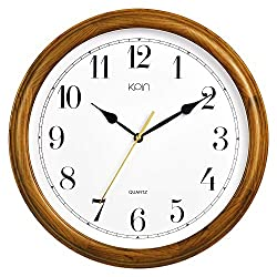 Kpin 14 inch Silent Sweeping Movement Quartz Decorative Real Wood Wall Clock Modern Style Good for Living Room & Home& Office (Cherry Wood, 14 Inch)