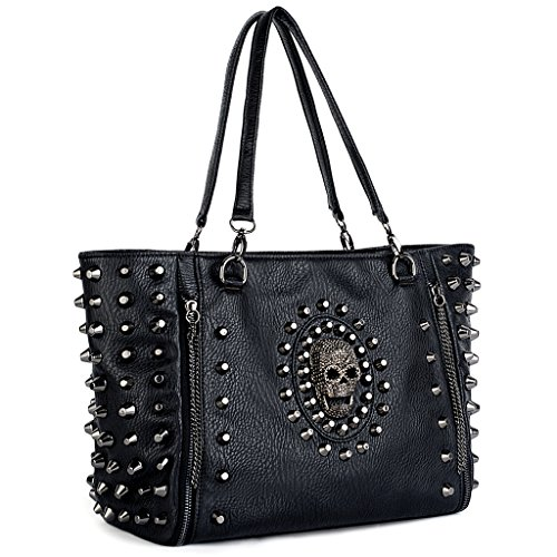UTO Women Skull Tote Bag PU Washed Leather Rivet Studded Ladies Purse Shoulder Bag
