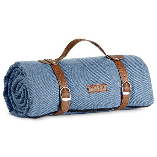VonShef Blaue Picknickdecke - wasserdichte Fleece-Decke mit Tragegriffen - Kunstleder & Metallschnallen - Ideal für Outdoor-Lounging, Camping, Strandausflüge