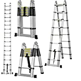 Aluminum Telescopic Ladder A Type Portable Extension Folding Multi-Purpose Heavy Duty Ladder, 5M/16.5Ft 330lb Load Capacity with EN131