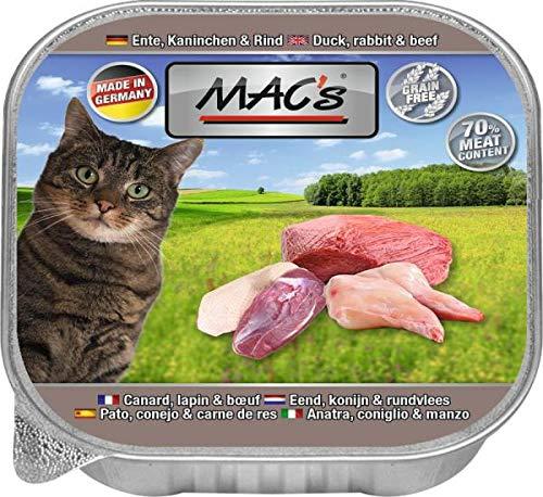 Mac's Katzenfutter getreidefrei Ente, Kaninchen & Rind, 16er Pack (16 x 85 g)