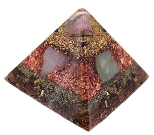 budawi® - Orgonit Pyramide XL, Edelstein Pyramide aus Edelsteinen und Metallen
