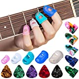 Anti-slip Guitar Fingertip Protectors, 35Pcs Premium Silicone Guitar Finger Guards Fingertip Protectors Covers Caps for Stringed Instruments, Sewing and Embroidery (5 Sizes)