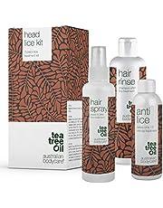 Head Lice Treatment Kit | 3 Producten met Tea Tree Olie tegen Hoofdluis & Neten | Anti-hoofdluis Behandeling in 15 minuten, Hoofdluis Preventie Spray & Shampoo voor het hele gezin van Australian Bodycare