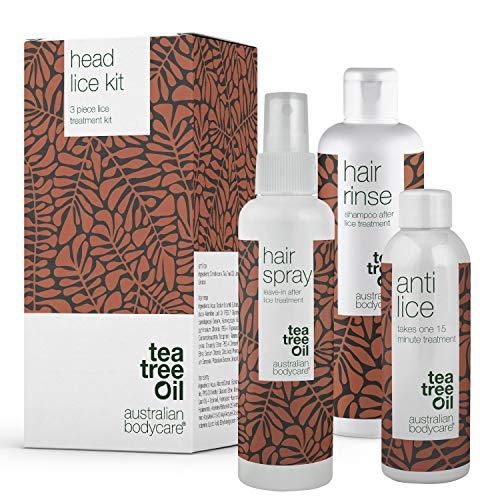 Australian Bodycare - Kit contra piojos para la cabeza | 3 Productos para remoción de liendres con Tea Tree Oil | Tratamiento antipiojos de 15 min, spray de prevención y champú para a familia