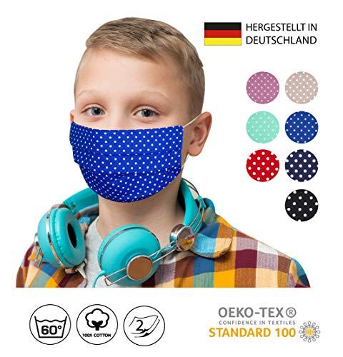 KINDER/JUGENDLICHE Facies blau weiß kleine Punkte für die Schule ab 4 Jahre wiederverwendbare Stoff Facies aus hochwertiger Baumwolle waschbar Mund und Nasenbedeckung