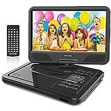 WONNIE 2019 Upgrade 10.5' Lecteur DVD Portable avec écran Rotatif à 270°, Carte SD et Prise USB avec Charge directe Formats/RMVB/AVI / MP3 / JPEG, Parfait pour Enfants (Noir)