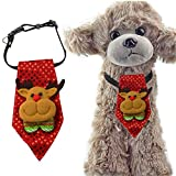 ANIAC Pet Christmas Santa Collar Neckwear with Pattern Neck Grooming Accessories for Small to Big Dogs (Reindeer, Medium)