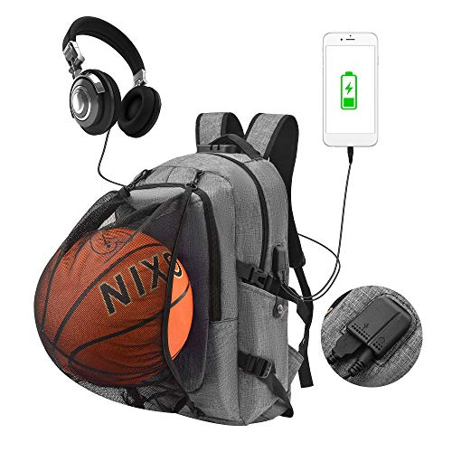 Anti-Theft Laptop Backpack, Travel Rucksack for Men Women, Large Durable College School Bag with Basketball Net & USB Charging Port for Boys Girls, Fit 15.6 Inch Laptop & Notebook