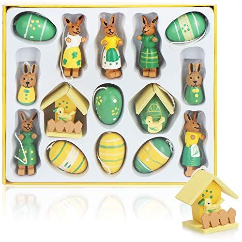 com-four® 15-teiliges Set Holzfiguren Ostern - Osterschmuck aus Holz - Holzfiguren für den Osterstrauch zum Anhängen