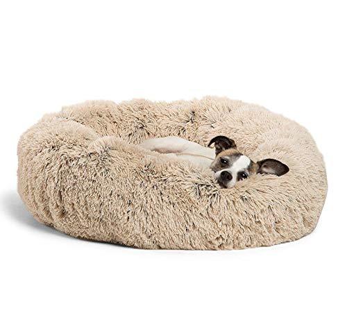 Cama para Perros y Gatos MLM Mascotas Calentito Cojín Redondo Suave de Felpa Duradera para Mascotas Cama de Lujo Mullida para Perros (S- 23'', Beige)