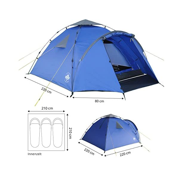 Lumaland Tienda de campaña Familiar Light Pop Up 3 Personas Camping Acampada Festival 220 x 220 x 130 cm 1