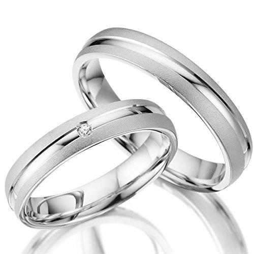 2 x Trauringe 925 Silber PAARPREIS inkl. Swarovski Crystal und Gravur AG.24 Eheringe Wedding Rings Verlobungsring Verlobungsringe Standesamt Heiraten Günstige Ringe Fischer Gerstner Rubin Geschenk