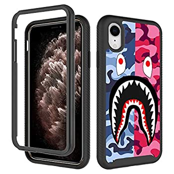 iPhone XR Case Street Fashion Design iPhone XR Cases for Boys Girls Dual Layer Shockproof Rugged Cover Soft TPU + Hard PC Bumper Full-Body Cool Camo Case for iPhone XR  6.1 inch  - Pink Blue Shark