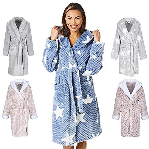 Light & Shade Coral Supersoft Fleece Dressing Gown Bath Robe Albornoz, Estrella con capucha - Azul, L - XL para Mujer