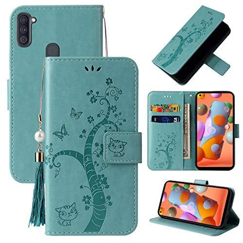 Miagon Brieftasche Flip Hülle für Samsung Galaxy A11/M11,Schön Schmetterling Baum Katze Design PU Leder Buch Stil Stand Funktion Handyhülle Case Cover,Grün