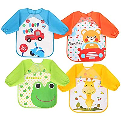 Baby Toddlers Waterproof Bibs with Sleeve Apron Multicolor Feeding Bibs