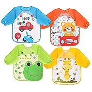 Vicloon Bibs with Sleeves,4 Pcs Waterproof Long Sleeve Bib Unisex Feeding Bibs Apron for Infant Todd...