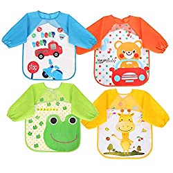 【Include Packages】 4 pack child waterproof bibs,1 x Green + 1 x blue + 1 x orange red + 1 x yellow; 【Sized to Fit】 Baby bibs design with long sleeves for 6 months to 3 years kids,Length: 42 cm, bust: 33 cm ,sleeve: 32cm; 【Easy to Clean】 The pattern p...