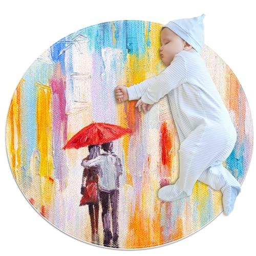 LKJDF Alfombras de gateo para niños y niñas, alfombra de juego para decoración de habitación de niños, amante en el día lluvioso