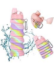Siliconen opvouwbare waterfles Draagbare BPA vrije bidon 500 ml Herbruikbare opvouwbare waterflessen Lekvrije waterfles voor School Outdoor Reizen Gym Camping Wandelen Fietsen 16 oz