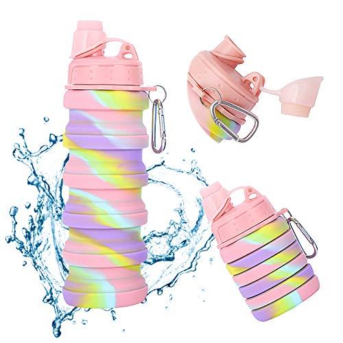 Botella de Silicona Plegable sin BPA Botella Deportiva Portátil Reutilizable para Exteriores Botella de Agua Deporte a Prueba de Fugas Plegables 500ml para Gimnasio Yoga Senderismo Camping 16 oz