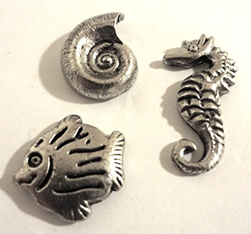 Decorative Sea Life Push Pins, Set of 15, Silver T-527AS