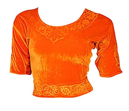 Trendofindia Orange Choli (Sari Oberteil) Samt Gr. 42 Gr. L ideal für Bauchtanz