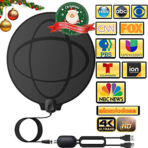 [2020 Newest] Best Indoor Digital HDTV Antenna - Powerful Amplified 4K Full HD Smart TV Antennas,85-130 Miles Range Support and Ultra High Definition and Signal Booster, with 9.8f Coaxial Cable.