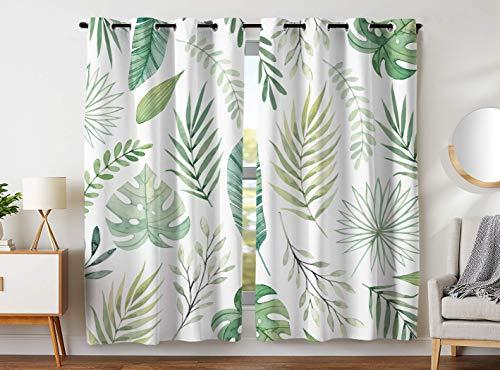YISUMEI - Gardinen Blickdichter - Grüne Palmblätter,245 x 140 cm 2er Set Vorhang Verdunkelung mit Ösen für Schlafzimmer Wohnzimmer